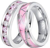 Ladies Pink Sapphire Cz & Pink Camo Titanium Wedding Engagement Eternity Set
