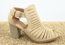 Women's Open Toe Ankle Strap Buckle Chunky Heel Booties Sandal Shoes size 6 - 10