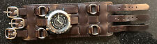 Vtg Diesel Watch Dz-1167 Hot Topic Leather Cuff Bracelet Steam Rock Powerslave