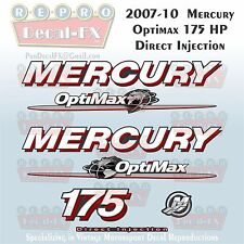 07-10 Mercury Optimax Globe 175HP Direct Injection Outboard Repro 7 Pc Decals