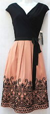 S.L. Fashions black rose embroidered flare  formal women dress event sz 10 new