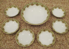 7pc set RS GERMANY BERRY/Salad BOWLS with MASTER China GREEN GOLD Medallions Vtg