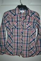 Adiktd Western RODEO RED BROWN BLUE Plaid PEARL Snap Shirt Top Womens MED $69