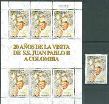 POPE JOHN PAUL II COLOMBIA Mi#2417 Kleinbogen + Stamp MNH VF