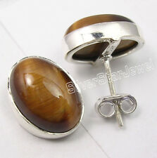 925 Solid Silver CABOCHON BROWN TIGER'S EYE BIG GEMSTONE STUD Earrings 0.6""