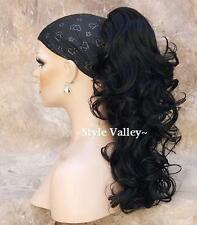 CURLY Black Ponytail Hairpiece  Long Claw Clip on in Extension Hair Piece #1B