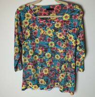 Nally & Millie Women's Top Size Medium 3/4 Sleeves Floral Burnout Colorful