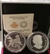 2018 Year of the Dog $15 1OZ Pure Silver Proof Coin Canada