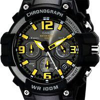 Casio MCW100H-9A Men's Analog Heavy Duty Watch Chronograph Black Yellow 100M WR