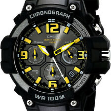 Casio MCW100H-9A Mens Analog Heavy Duty Watch Chronograph Black Yellow 100M WR