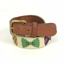 Smathers & Branson Mens Belt 38 Cream Ivory Bow Ties Needlepoint Leather Preppy