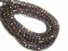 3mm Amethyst Gold Luster Czech Glass Firepolished Round Beads (50) #2569