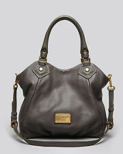EEUC MARC by MARC JACOBS Classic Q Fran Leather Hobo Shoulder Bag Tote DARK GRAY