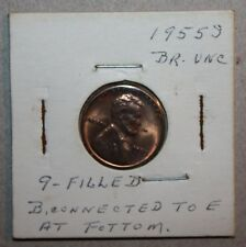 1955 S ERROR coin Lincoln wheat one CENT filled 9 AU nice luster B E bridge