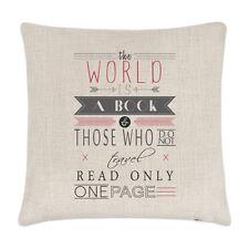 Le monde est un livre cite housse de coussin - oreiller voyage vacances