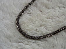 Dark Silvertone Flat Herringbone Chain Necklace (B41)
