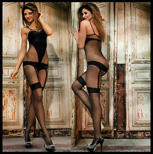 Beauty's Love 96153 hosiery bodystocking catsuit garter teddy sexy lingerie nero