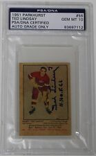 TED LINDSAY SIGNED 1951 PARKHURST #56 RED WINGS HOCKEY CARD PSA/DNA MINT 10 AUTO