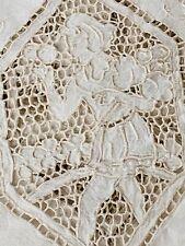 Antique Italian Linen Point de Venice Figural Handmade Table Cloth