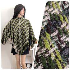 Vintage 60s Wool Fringe Poncho Zip Cape Jumper Green Wool Boho Mod S M 8 10 12