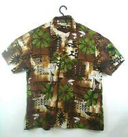 Men's Stitch Hawaiian Tiki Bar Short Sleeve Button Up Shirt L Island Paradise