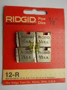 """RIDGID 1/2"""" NPT 12-R PIPE THREADING DIES HS 37870 O-R 11-R 111-R 31-A 00-R"""