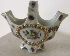 antique GERMANY HAND PAINTED LUSTERWARE PORCELAIN  PINK / PURPLE AND GILT BASKET