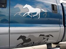 "2-Pack  Horse Trailer Vinyl Graphic Decals (Running Horses Silhouette) 9"" X 26"""