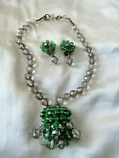 Coppola e Toppo Necklace Earring set Green Gray Signed Set Mid- Century Italian