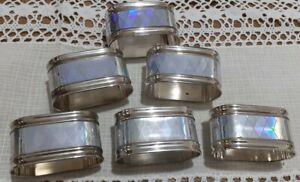 Set x 6 Unusual Vintage Silver Plated Ornate Oval Napkin/Serviette Rings