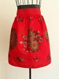 Vintage Christmas Apron: Poinsettias, Holly, Bells: Red, Green, Gold - 50s