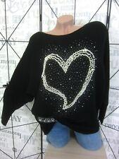 Fledermaus Strick Pullover Perlen Strass sehr edel 38 40 42 Schwarz T8270 NEU