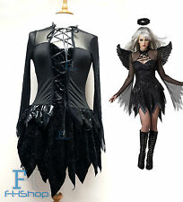Dark Angel Diablo Mujer Disfraz Sexy Dama Fancy Dress Halloween Cosplay