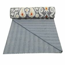 Grey Quilts Kantha Bed Cover Throw Bedding Bedspread Cotton Kantha Indian Quilts