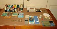 VINTAGE SEWING SUPPLIES LOT Thread*Needles*Safety Pins*Scissors*Materials*More!