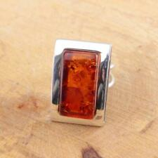 Handmade Cognac Baltic Amber 925 Sterling Silver Ring Adjustable Size O P Q 9.8g