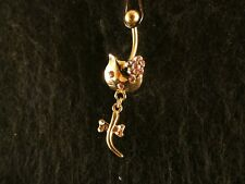 Bauchnabel Piercing Kitty 24 Karat Vergoldet Katze Cat Gold Rosa Hallo