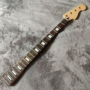 "New Rosewood Gloss Jazz J Style Block Inlay Bass Neck Skunk Stripe 34"" Scale"