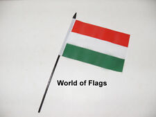 "HUNGARY SMALL HAND WAVING FLAG 6"" x 4"" Hungarian Table Desk Crafts Display"