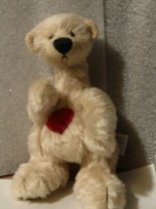 "Deb Canham bear 6"" beige jointed bear red heart on chest kept in cabinet PERFECT"