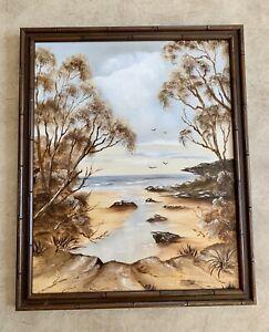 Vintage Original Oil Painting On Board  Australian  Landscape Signed Framed
