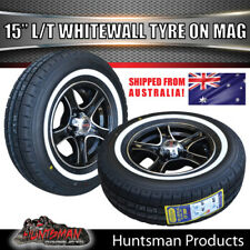 "15"" Stealth Mag Wheel suit Ford & 195R15 LT Whitewall Tyre Caravan Trailer Boat"