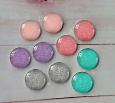 10PCS 12mm Colorful glitter Handmade Glass Cabochon Dome Flat Back Cover A214