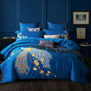 100%Egyptian Cotton Blue Birds Embroidered Imperial Duvet Cover Bedding Set DHL