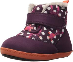 BOGS Baby Girls Waterproof Elliot Giraffe Eggplant Washable Snow Boot Size US 8
