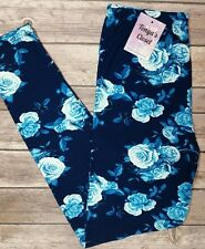 Blue Rose Floral Print Leggings Super Soft ONE SIZE OS
