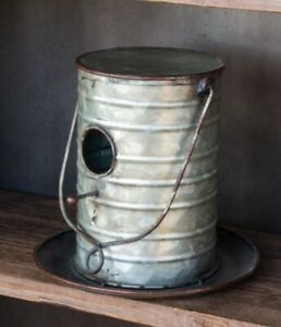 Farmhouse Upcycled Tin Can Birdhouse Galvanized Metal Hinged Opening Handle