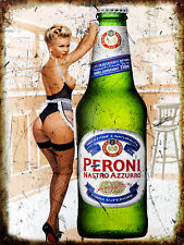 Peroni Pin Up Girl, Vintage Retro Metal Sign Plaque, Novelty Gift, Bar/Pub