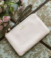 New Coach F58032 Chalk Corner Zip Wristlet New With Tags