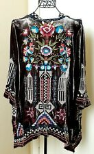 JWLA JOHNNY WAS Gorgeous Embroidered Velvet Draped Open Front Cardigan Jacket
